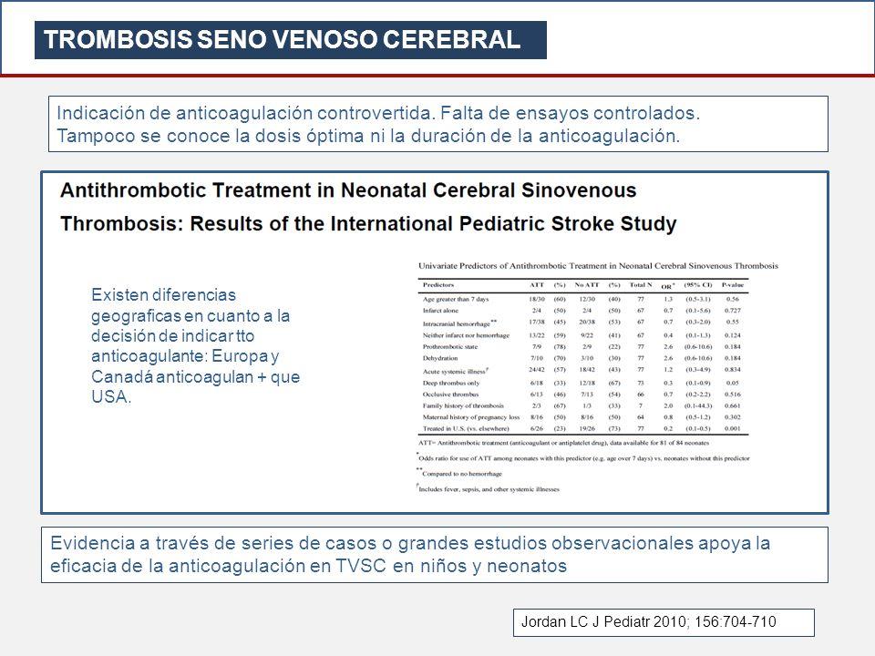 TROMBOSIS SENO VENOSO CEREBRAL Indicación de anticoagulación controvertida. Falta de ensayos controlados. Tampoco se conoce la dosis óptima ni la dura