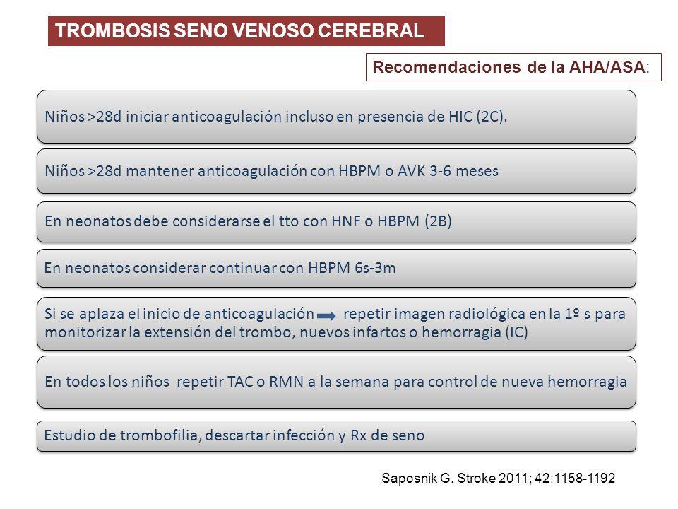 TROMBOSIS SENO VENOSO CEREBRAL Saposnik G. Stroke 2011; 42:1158-1192 Si se aplaza el inicio de anticoagulación repetir imagen radiológica en la 1º s p