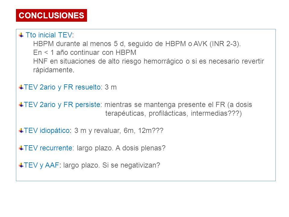 Tto inicial TEV: HBPM durante al menos 5 d, seguido de HBPM o AVK (INR 2-3). En < 1 año continuar con HBPM HNF en situaciones de alto riesgo hemorrági
