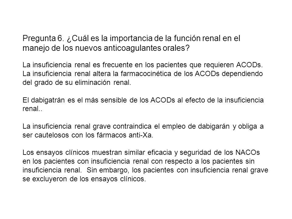La insuficiencia renal es frecuente en los pacientes que requieren ACODs.