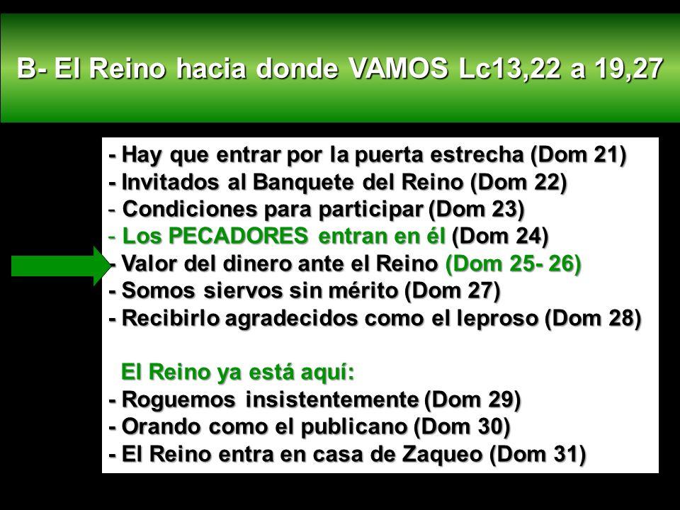 B- El Reino hacia donde VAMOS Lc13,22 a 19,27 - Hay que entrar por la puerta estrecha (Dom 21) - Invitados al Banquete del Reino (Dom 22) - Condiciones para participar (Dom 23) - Los PECADORES entran en él (Dom 24) - Valor del dinero ante el Reino (Dom 25- 26) - Somos siervos sin mérito (Dom 27) - Recibirlo agradecidos como el leproso (Dom 28) El Reino ya está aquí: - Roguemos insistentemente (Dom 29) - Orando como el publicano (Dom 30) - El Reino entra en casa de Zaqueo (Dom 31) El Reino ya está aquí: - Roguemos insistentemente (Dom 29) - Orando como el publicano (Dom 30) - El Reino entra en casa de Zaqueo (Dom 31)