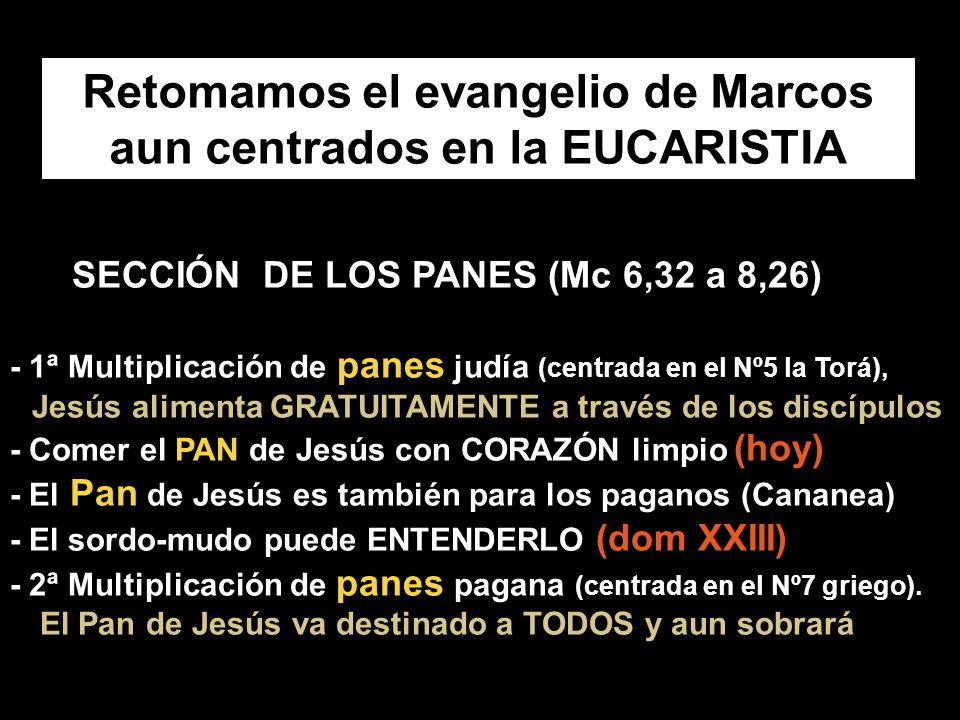 SECCIÓN DE LOS PANES (Mc 6,32 a 8,26) - 1ª Multiplicación de panes judía (centrada en el Nº5 la Torá), Jesús alimenta GRATUITAMENTE a través de los discípulos - Comer el PAN de Jesús con CORAZÓN limpio (hoy) - El Pan de Jesús es también para los paganos (Cananea) - El sordo-mudo puede ENTENDERLO (dom XXIII) - 2ª Multiplicación de panes pagana (centrada en el Nº7 griego).