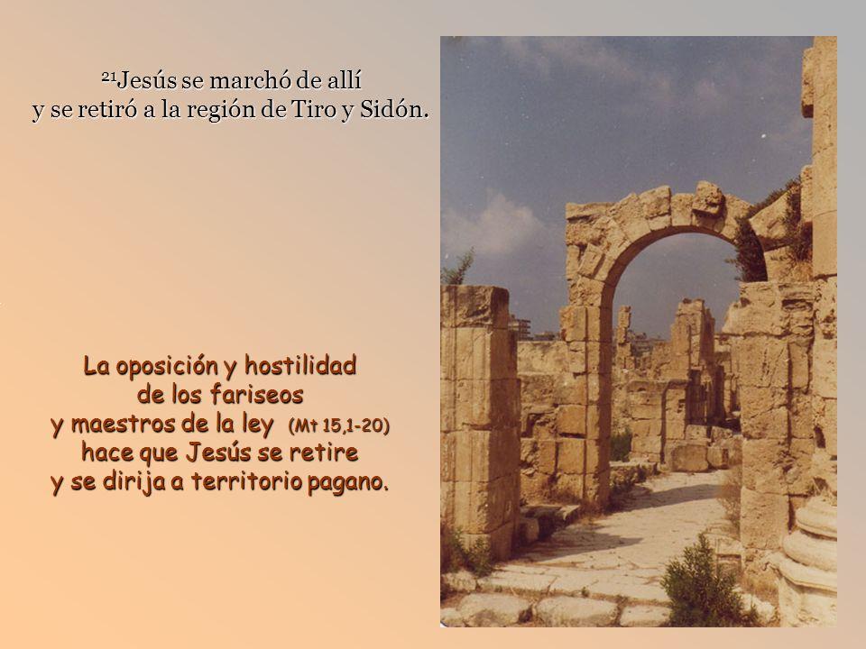 21 Jesús se marchó de allí y se retiró a la región de Tiro y Sidón.