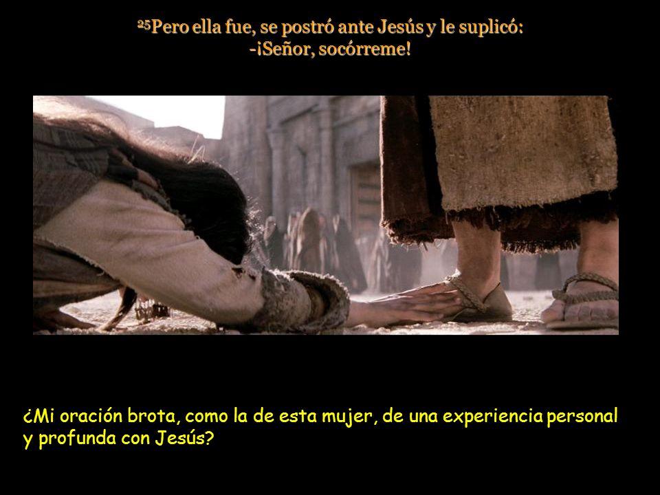 25 Pero ella fue, se postró ante Jesús y le suplicó: -¡Señor, socórreme.