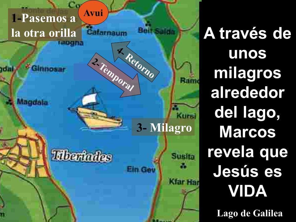A través de unos milagros alrededor del lago, Marcos revela que Jesús es VIDA Lago de Galilea 1-Pasemos a la otra orilla 3- Milagro 2-Temporal 4- Retorno Avui