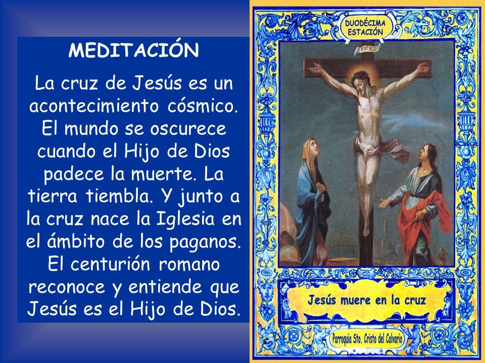 «Déjalo, a ver si viene Elías a salvarlo». Jesús, dio otro grito fuerte y exhaló el espíritu. El centurión y sus hombres, que custodiaban a Jesús, al
