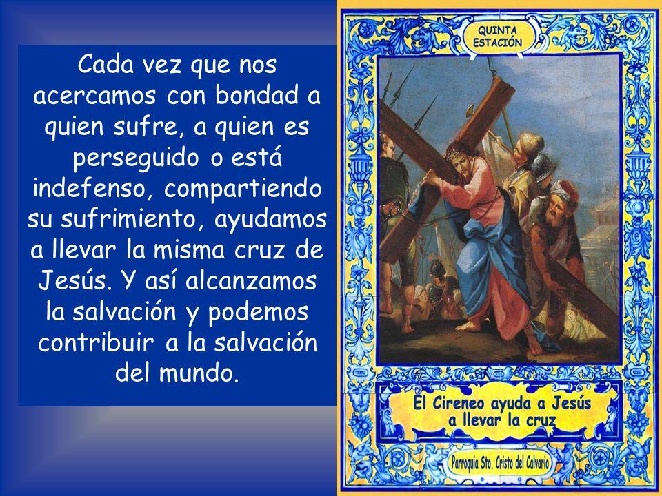 MEDITACIÓN Simón de Cirene, acompañando a Jesús y compartiendo el peso de la cruz, comprendió que era una gracia poder caminar junto a este Crucificad