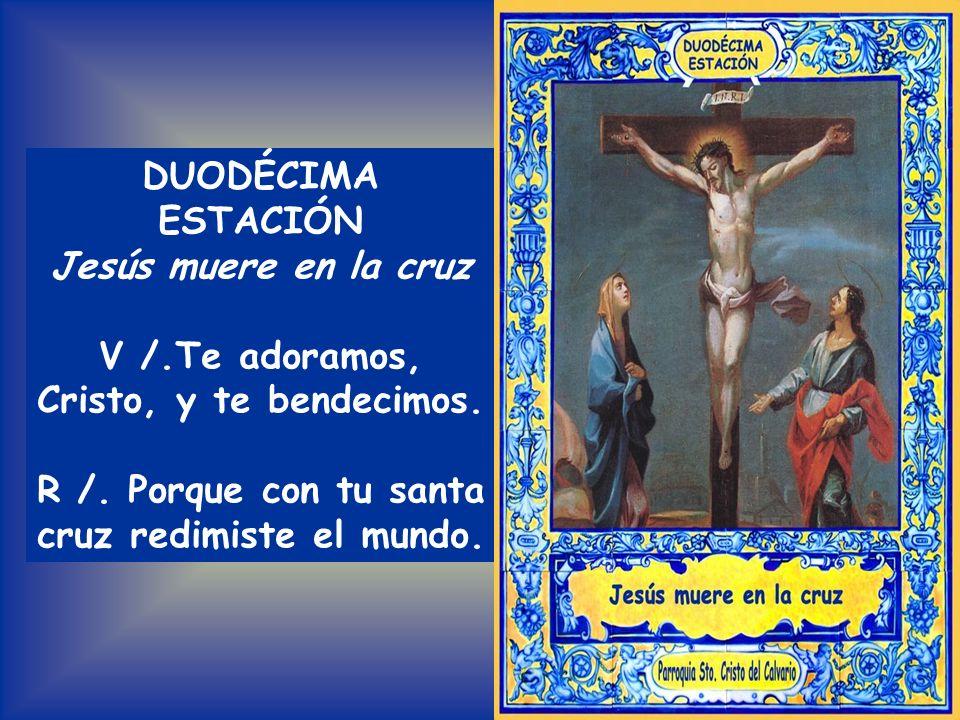 Todos: PADRE NUESTRO En medio de dos ladrones en la cruz lo levantaron el cuerpo descoyuntaron, y al clavarle lo mataron Por vuestra Pasión sagrada ad