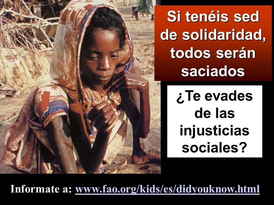 Dichosos los que tienen hambre y sed de la justicia, porque ellos quedarán saciados.