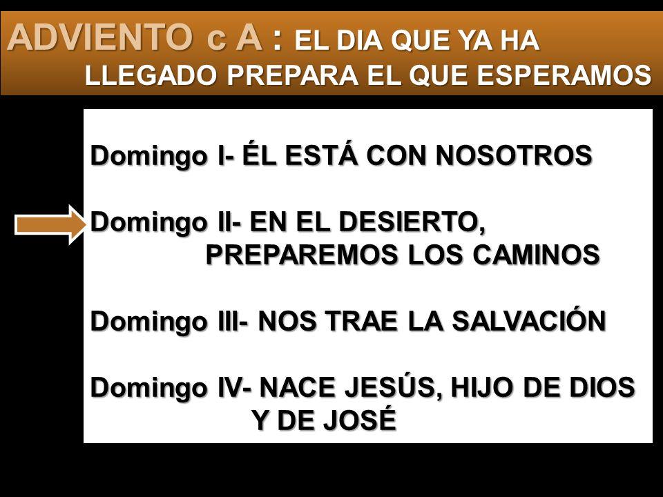 Domingo I- ÉL ESTÁ CON NOSOTROS Domingo II- EN EL DESIERTO, PREPAREMOS LOS CAMINOS Domingo III- NOS TRAE LA SALVACIÓN Domingo IV- NACE JESÚS, HIJO DE DIOS Y DE JOSÉ ADVIENTO c A : EL DIA QUE YA HA LLEGADO PREPARA EL QUE ESPERAMOS