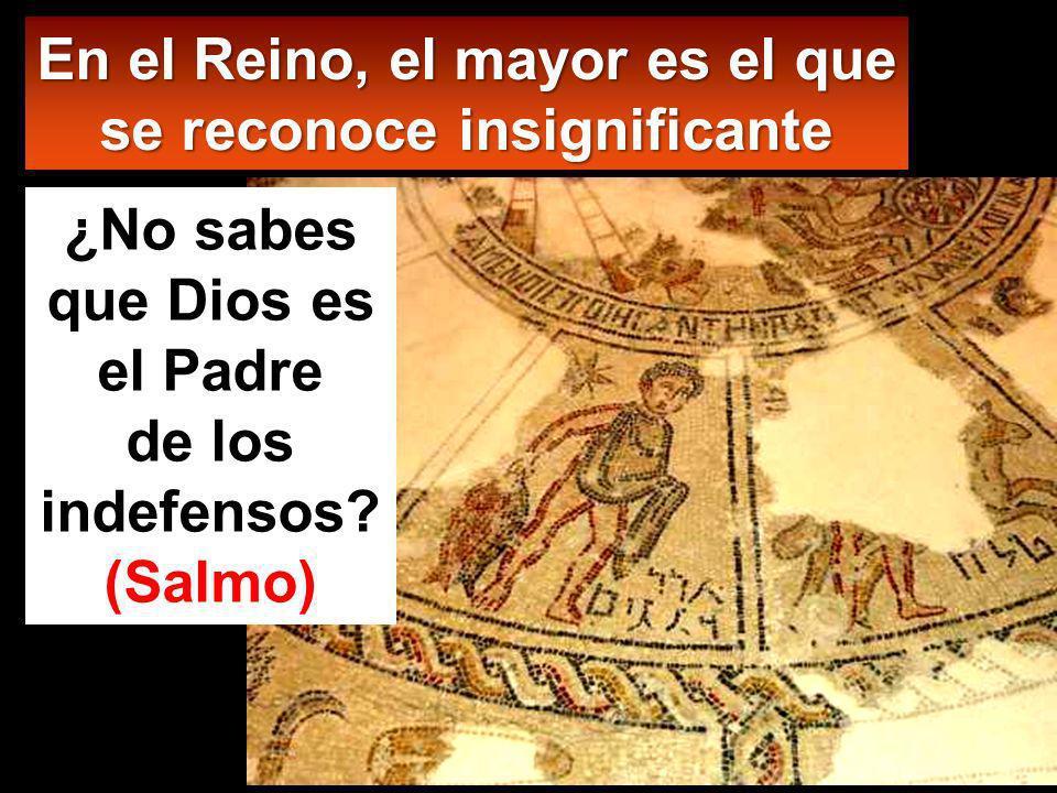 En el Reino, el mayor es el que se reconoce insignificante ¿No sabes que Dios es el Padre de los indefensos.