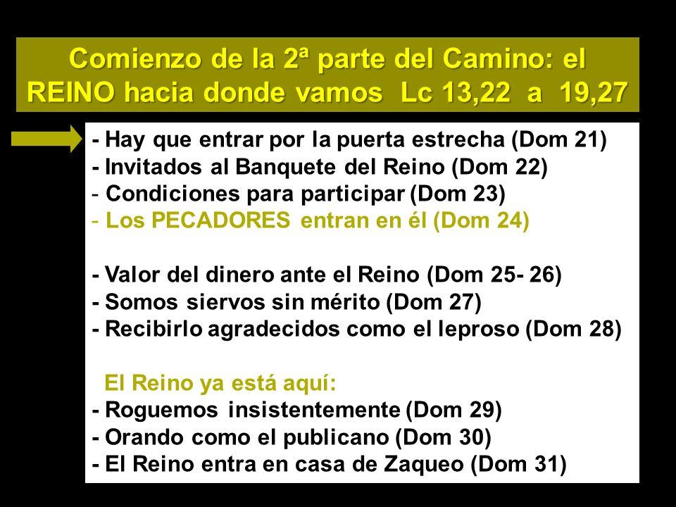 Comienzo de la 2ª parte del Camino: el REINO hacia donde vamos Lc 13,22 a 19,27 - Hay que entrar por la puerta estrecha (Dom 21) - Invitados al Banquete del Reino (Dom 22) - Condiciones para participar (Dom 23) - Los PECADORES entran en él (Dom 24) - Valor del dinero ante el Reino (Dom 25- 26) - Somos siervos sin mérito (Dom 27) - Recibirlo agradecidos como el leproso (Dom 28) El Reino ya está aquí: - Roguemos insistentemente (Dom 29) - Orando como el publicano (Dom 30) - El Reino entra en casa de Zaqueo (Dom 31)