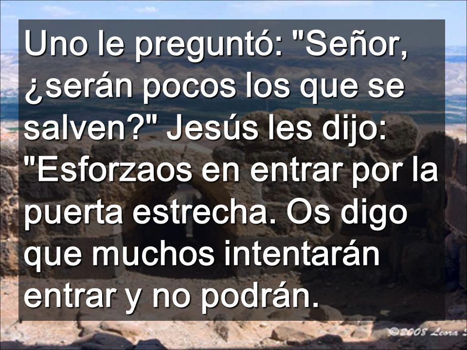 Uno le preguntó: Señor, ¿serán pocos los que se salven? Jesús les dijo: Esforzaos en entrar por la puerta estrecha.