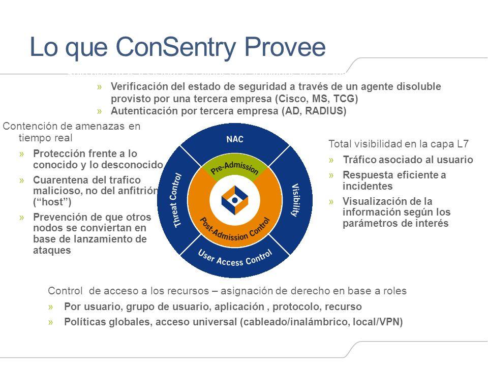 Lo que ConSentry Provee Sólo personas y sistemas validos son admitidos en la LAN »Verificación del estado de seguridad a través de un agente disoluble