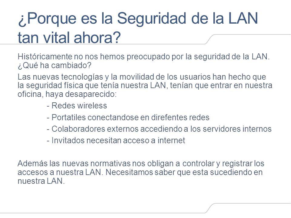 ¿Porque es la Seguridad de la LAN tan vital ahora? Históricamente no nos hemos preocupado por la seguridad de la LAN. ¿Qué ha cambiado? Las nuevas tec