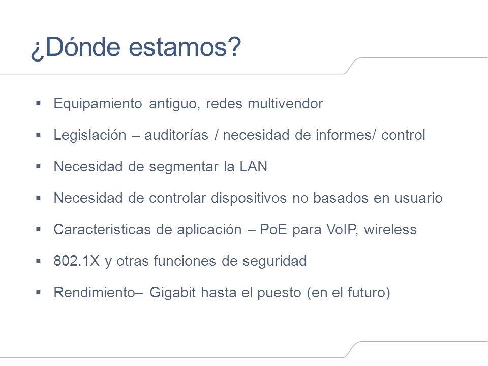¿Dónde estamos? Equipamiento antiguo, redes multivendor Legislación – auditorías / necesidad de informes/ control Necesidad de segmentar la LAN Necesi