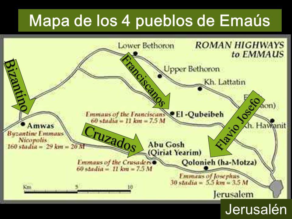 Mapa de los 4 pueblos de Emaús Cruzados Bizantíno Franciscanos Jerusalén Flavio Josefo