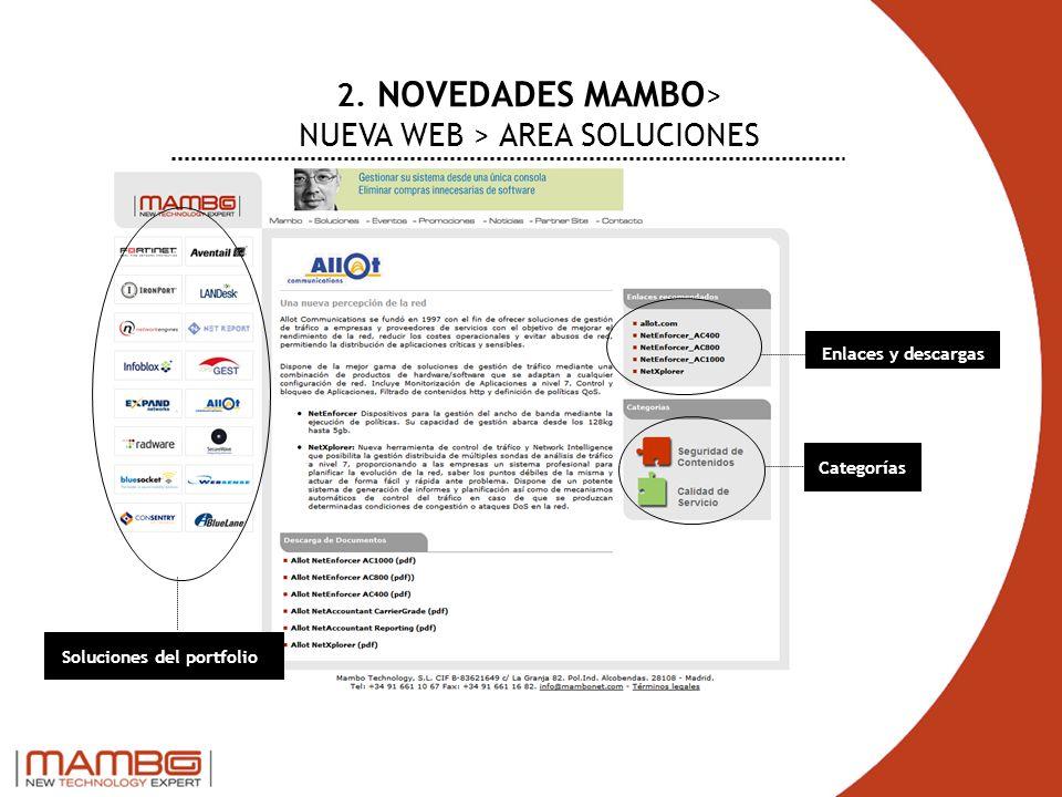 2. NOVEDADES MAMBO > NUEVA WEB > AREA SOLUCIONES Soluciones del portfolio Enlaces y descargas Categorías