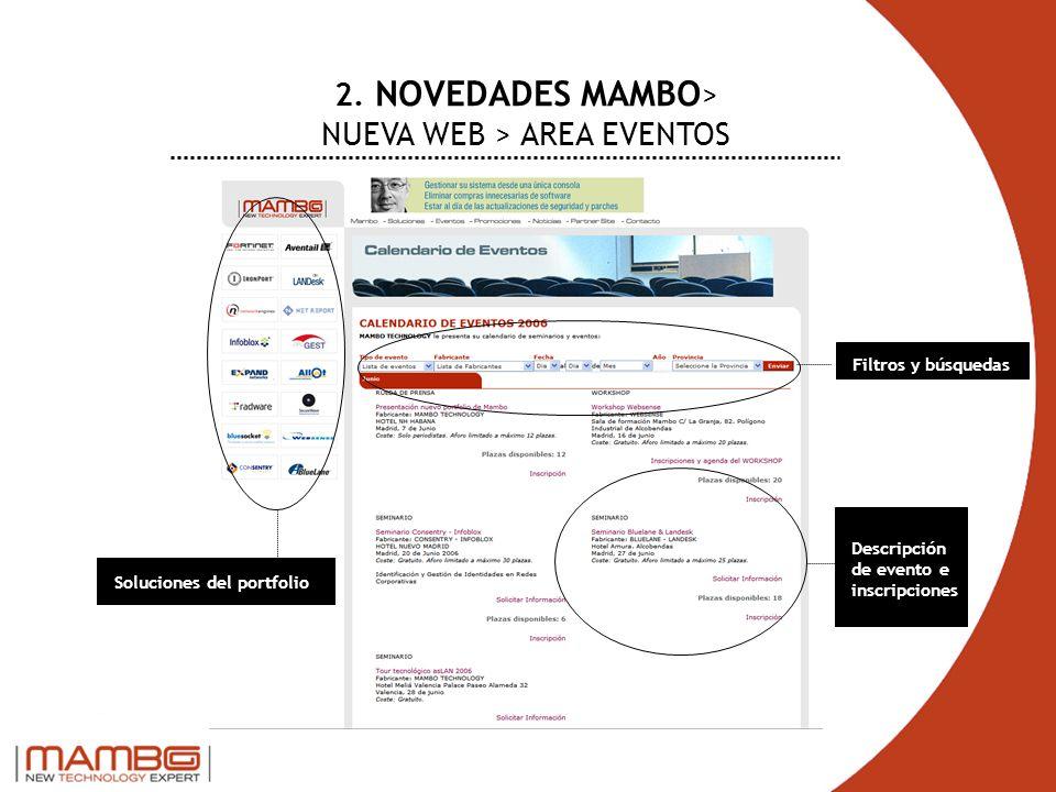2. NOVEDADES MAMBO > NUEVA WEB > AREA EVENTOS Soluciones del portfolio Filtros y búsquedas Descripción de evento e inscripciones