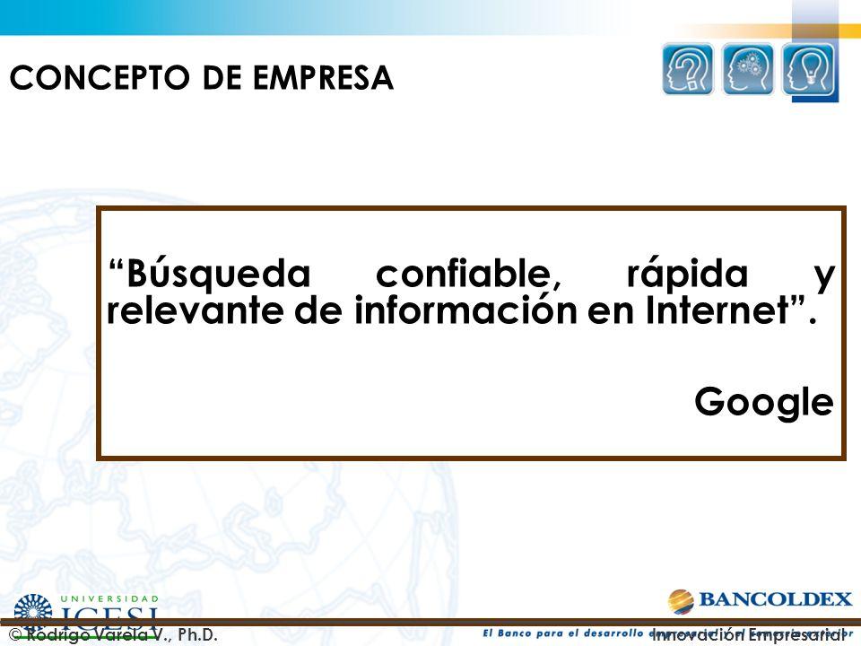 Búsqueda confiable, rápida y relevante de información en Internet. Google © Rodrigo Varela V., Ph.D.Innovación Empresarial CONCEPTO DE EMPRESA