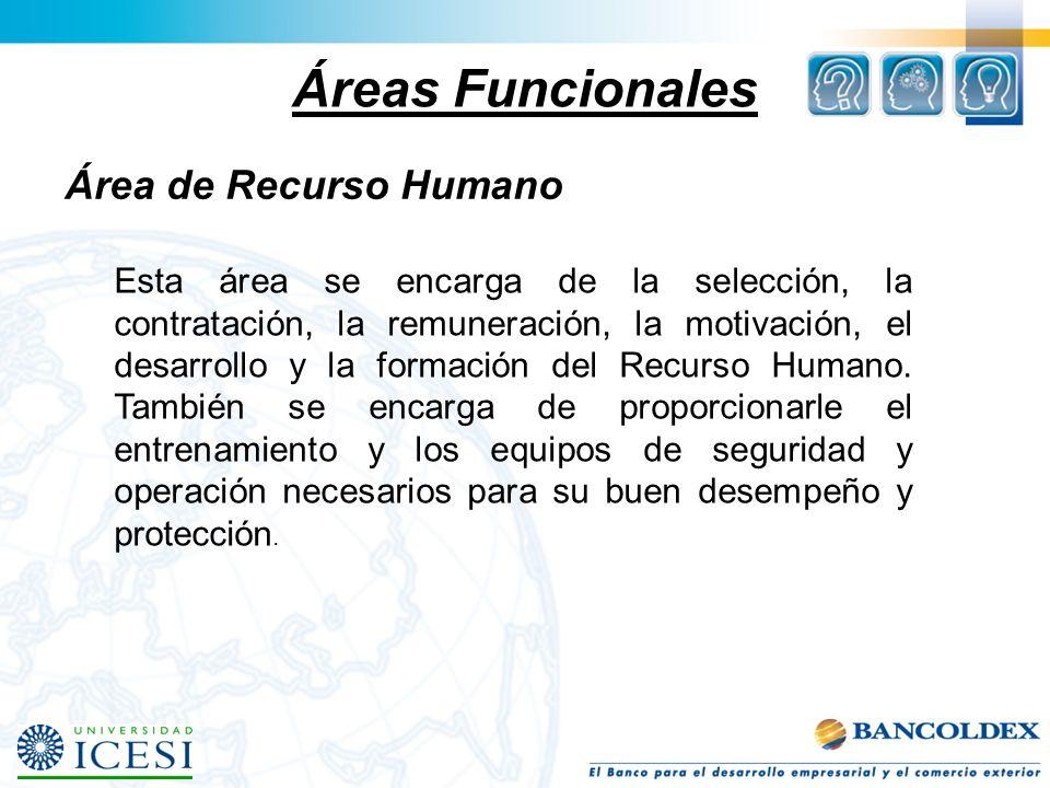 Áreas Funcionales Área de Recurso Humano Esta área se encarga de la selección, la contratación, la remuneración, la motivación, el desarrollo y la for