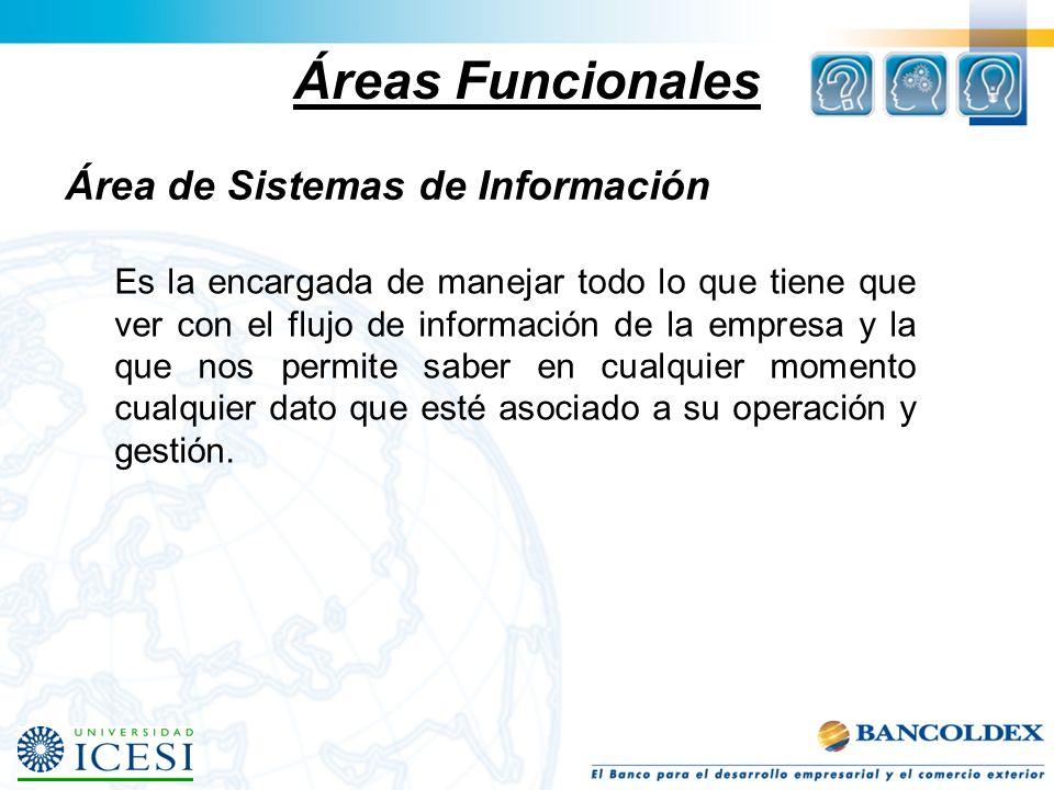 Áreas Funcionales Área de Sistemas de Información Es la encargada de manejar todo lo que tiene que ver con el flujo de información de la empresa y la