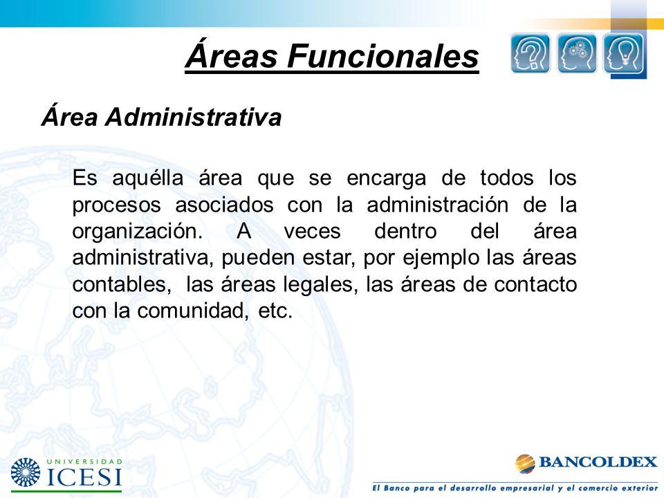 Áreas Funcionales Área Administrativa Es aquélla área que se encarga de todos los procesos asociados con la administración de la organización. A veces