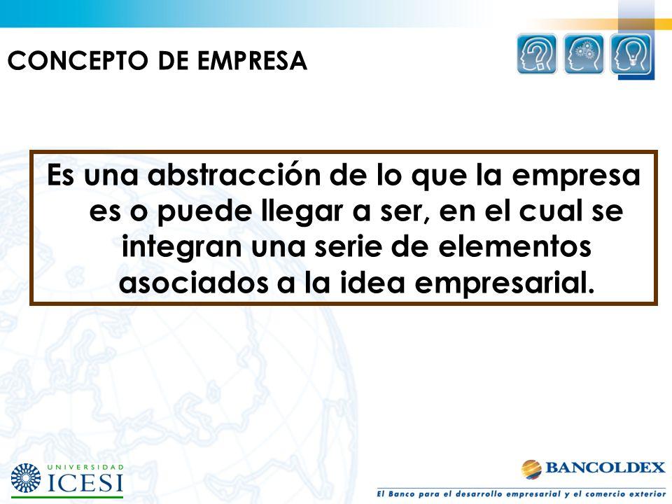 Es una abstracción de lo que la empresa es o puede llegar a ser, en el cual se integran una serie de elementos asociados a la idea empresarial. CONCEP