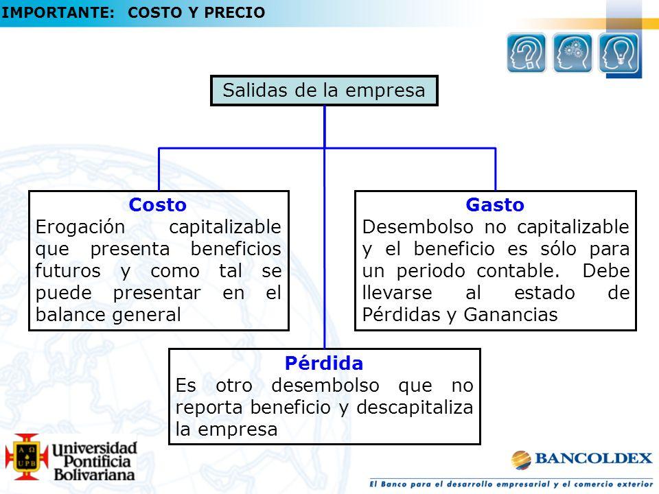 Salidas de la empresa Costo Erogación capitalizable que presenta beneficios futuros y como tal se puede presentar en el balance general Gasto Desembolso no capitalizable y el beneficio es sólo para un periodo contable.