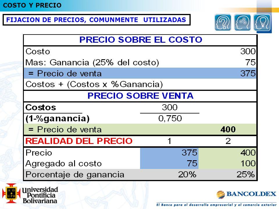 FIJACION DE PRECIOS, COMUNMENTE UTILIZADAS COSTO Y PRECIO
