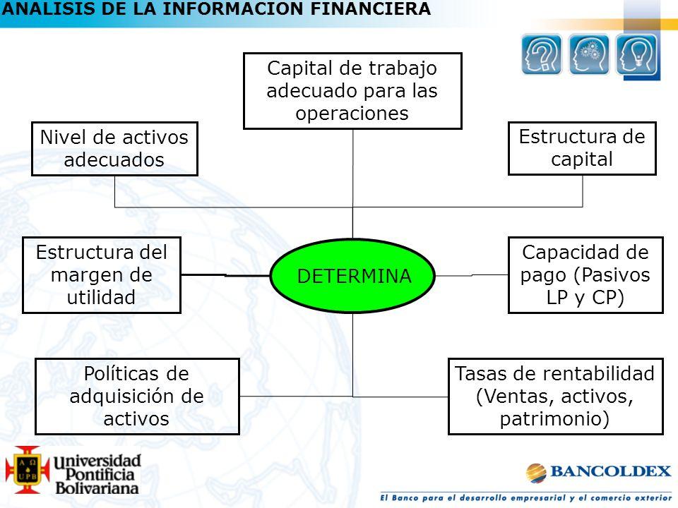 ANALISIS DE LA INFORMACION FINANCIERA DETERMINA Nivel de activos adecuados Capital de trabajo adecuado para las operaciones Estructura de capital Capa