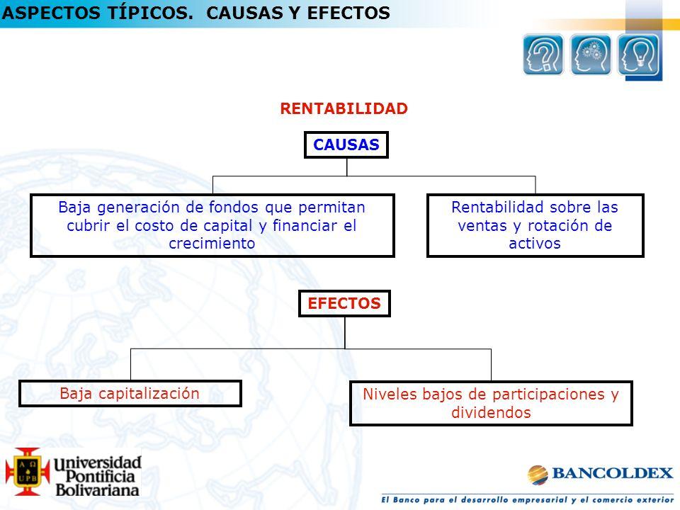RENTABILIDAD CAUSAS Baja generación de fondos que permitan cubrir el costo de capital y financiar el crecimiento EFECTOS Baja capitalización Rentabili