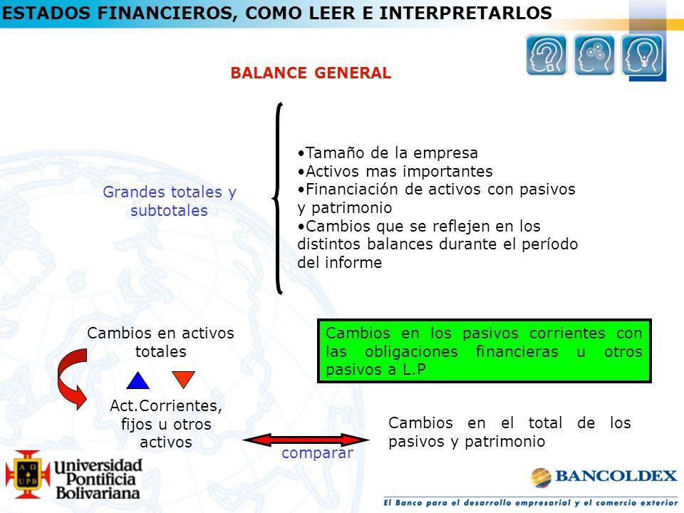ESTADOS FINANCIEROS, COMO LEER E INTERPRETARLOS BALANCE GENERAL Grandes totales y subtotales Tamaño de la empresa Activos mas importantes Financiación