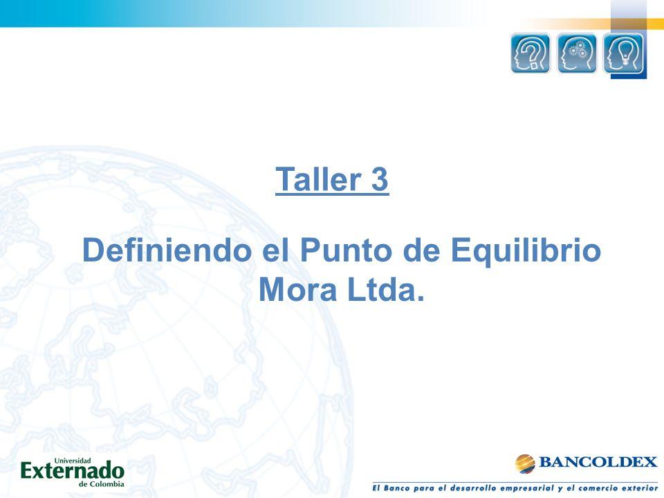 Taller 3 Definiendo el Punto de Equilibrio Mora Ltda.