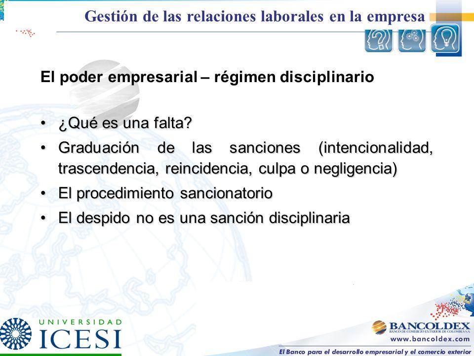 El poder empresarial – régimen disciplinario ¿Qué es una falta?¿Qué es una falta? Graduación de las sanciones (intencionalidad, trascendencia, reincid