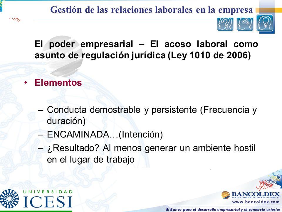 El poder empresarial – El acoso laboral como asunto de regulación jurídica (Ley 1010 de 2006) Elementos –Conducta demostrable y persistente (Frecuenci