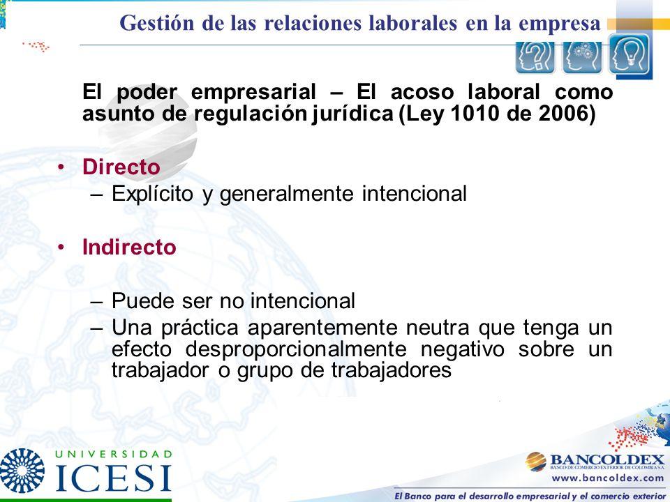 El poder empresarial – El acoso laboral como asunto de regulación jurídica (Ley 1010 de 2006) Directo –Explícito y generalmente intencional Indirecto