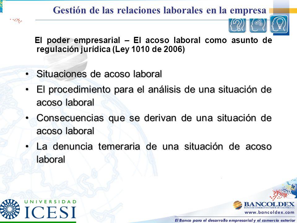 El poder empresarial – El acoso laboral como asunto de regulación jurídica (Ley 1010 de 2006) Situaciones de acoso laboralSituaciones de acoso laboral