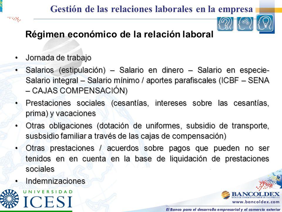 Régimen económico de la relación laboral Jornada de trabajoJornada de trabajo Salarios (estipulación) – Salario en dinero – Salario en especie- Salari