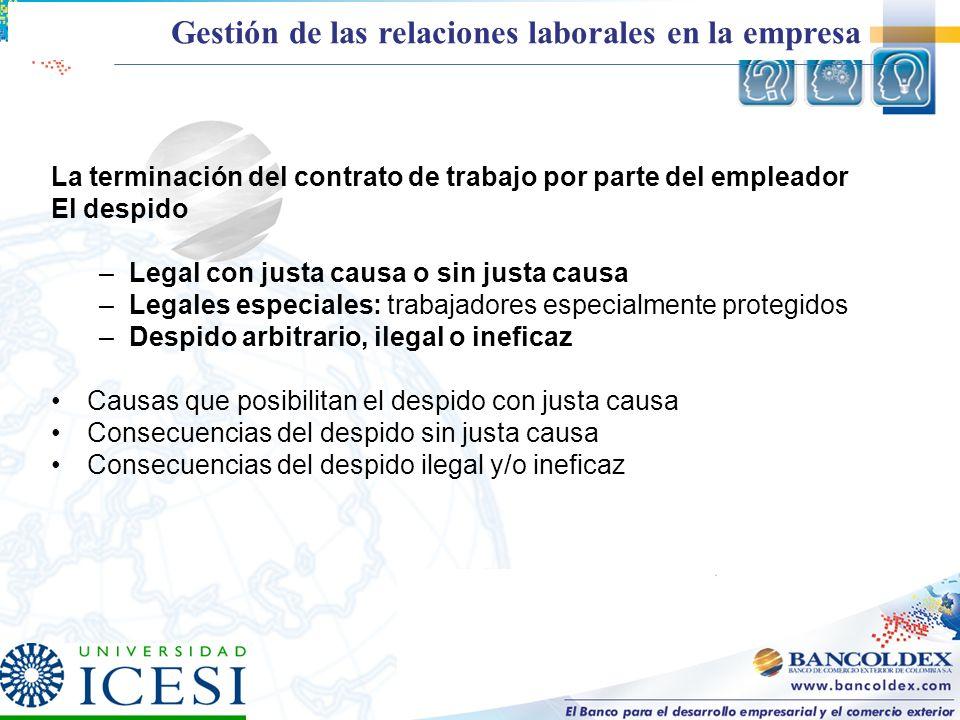 La terminación del contrato de trabajo por parte del empleador El despido –Legal con justa causa o sin justa causa –Legales especiales: trabajadores e