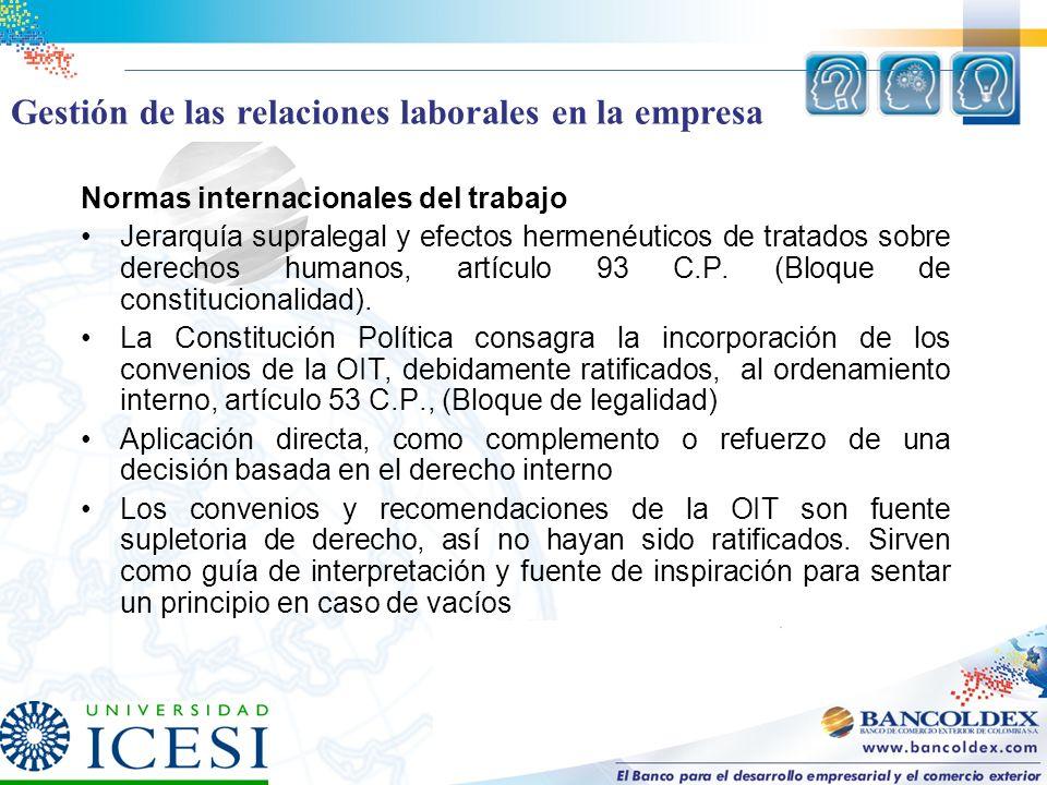 Normas internacionales del trabajo Jerarquía supralegal y efectos hermenéuticos de tratados sobre derechos humanos, artículo 93 C.P. (Bloque de consti