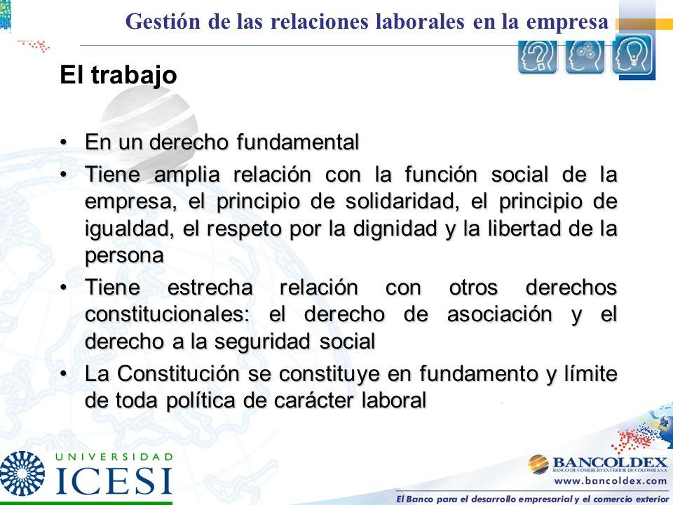 El trabajo En un derecho fundamentalEn un derecho fundamental Tiene amplia relación con la función social de la empresa, el principio de solidaridad,
