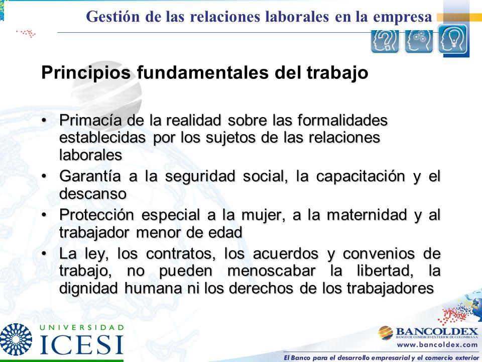 Principios fundamentales del trabajo Primacía de la realidad sobre las formalidades establecidas por los sujetos de las relaciones laboralesPrimacía d