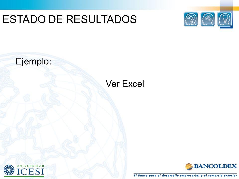 ESTADO DE RESULTADOS Ejemplo: Ver Excel
