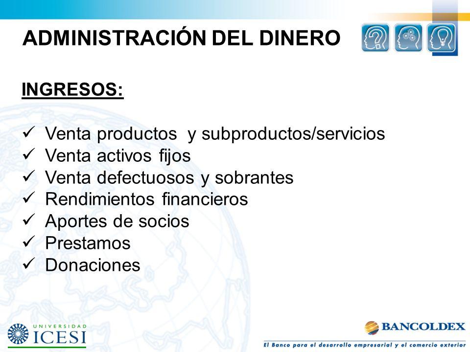 ADMINISTRACIÓN DEL DINERO INGRESOS: Venta productos y subproductos/servicios Venta activos fijos Venta defectuosos y sobrantes Rendimientos financiero