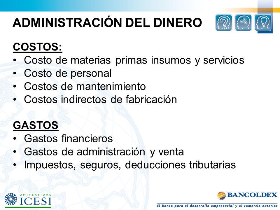 ADMINISTRACIÓN DEL DINERO COSTOS: Costo de materias primas insumos y servicios Costo de personal Costos de mantenimiento Costos indirectos de fabricac