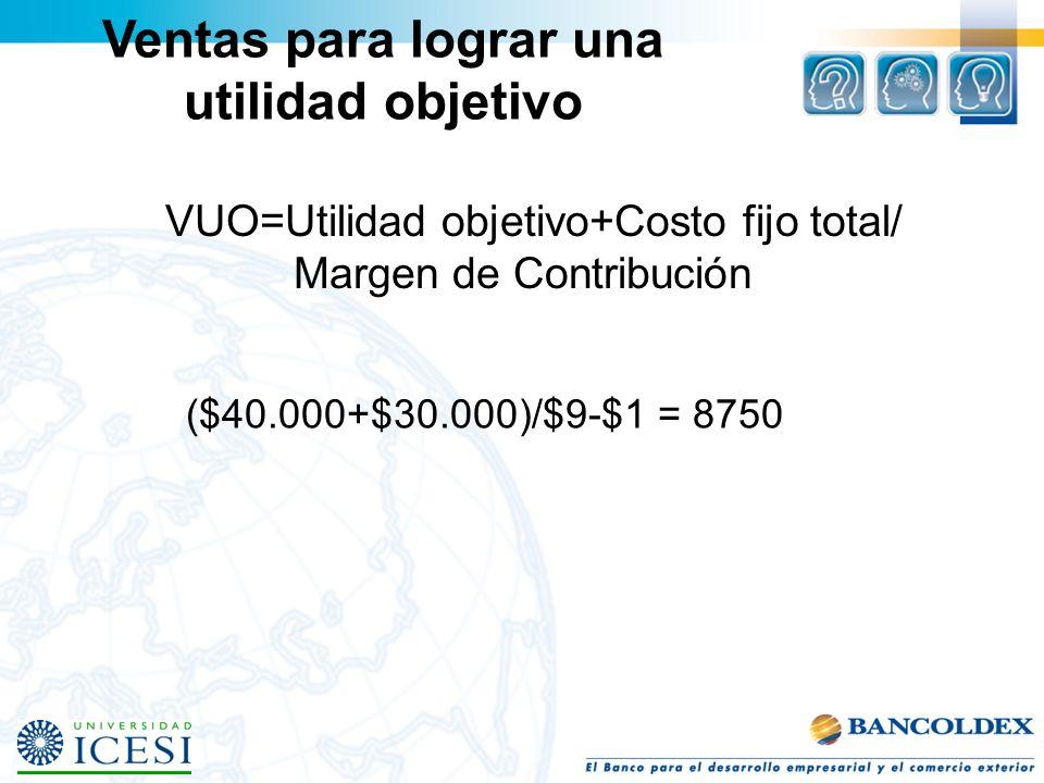 Ventas para lograr una utilidad objetivo VUO=Utilidad objetivo+Costo fijo total/ Margen de Contribución ($40.000+$30.000)/$9-$1 = 8750
