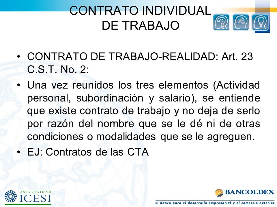 CONTRATO INDIVIDUAL DE TRABAJO ELEMENTOS ESENCIALES: Art.23 C.S.T. (Art. 1 Ley 50 de 1990). Para que haya contrato de trabajo se requiere que concurra