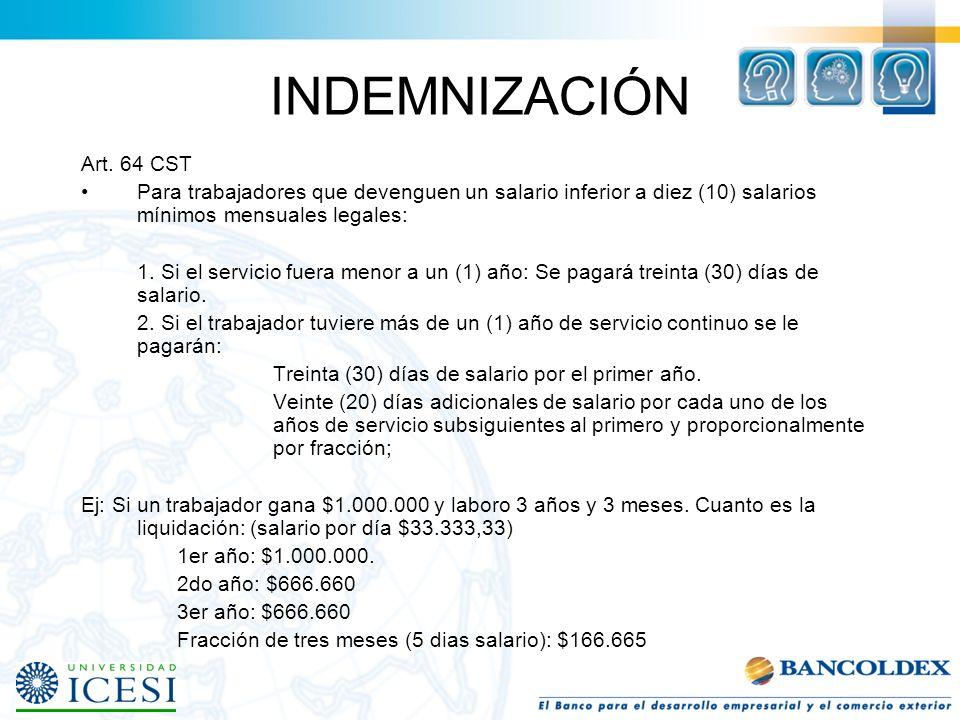 FORMAS DE TERMINACIÓN Art. 62 y 63, 64 del CST Con justa causa por parte del empleador. –No hay lugar al pago de indemnización. –Se le debe pagar las