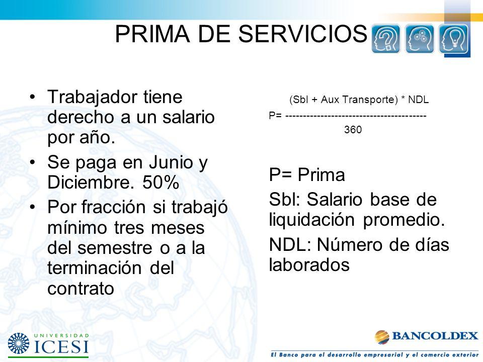 PRESTACIONES SOCIALES DE RESPONSABILIDAD DEL EMPLEADOR Prima de Servicios –Es la participación del trabajador en las utilidades de la empresa. Cesantí